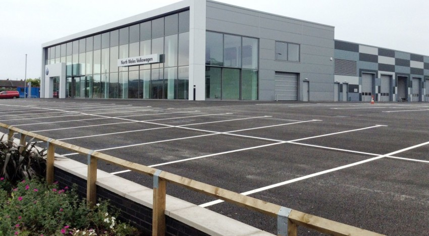 Hauraton surface water drainage system installed  at new automotive showrooms and servicing centre