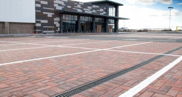 RECYFIX® MONOTEC drains car park at Home Bargains store Prescot Parkway